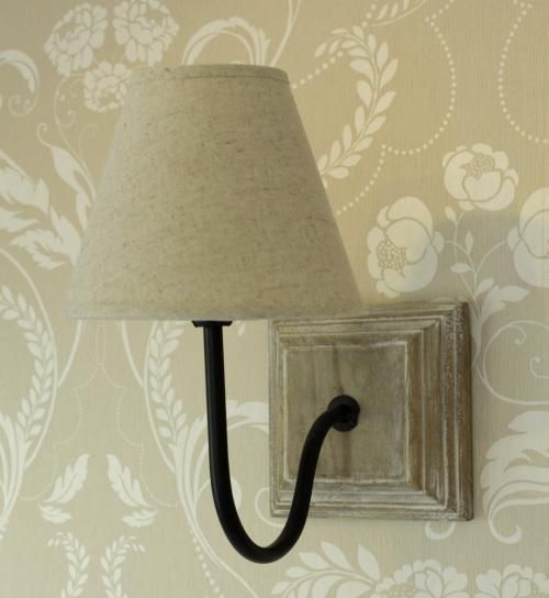 Cream wall lamp light shabby vintage cottage chic linen shade bedside - Wall lights, LED ...