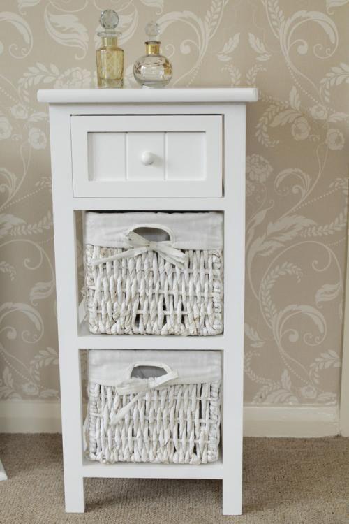 White side cabinet bedside storage unit table basket shabby ...