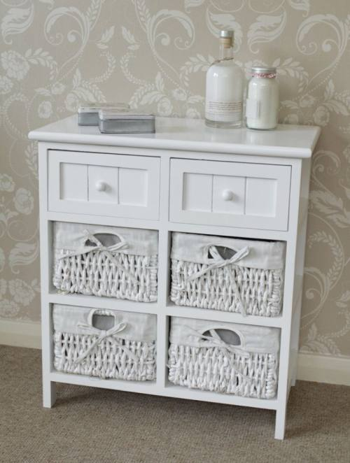 White Cabinet Storage Basket Unit Drawers Hall Bathroom Bedroom Furniture Ebay