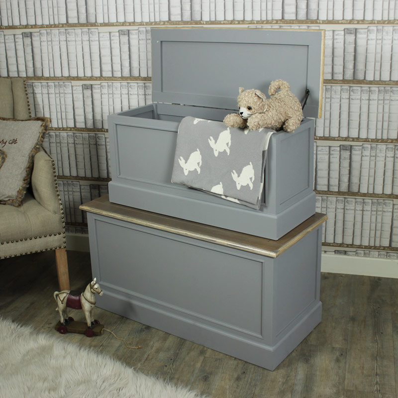 Set Of 2 Grey Wooden Blanket Storage Boxes   Admiral Range