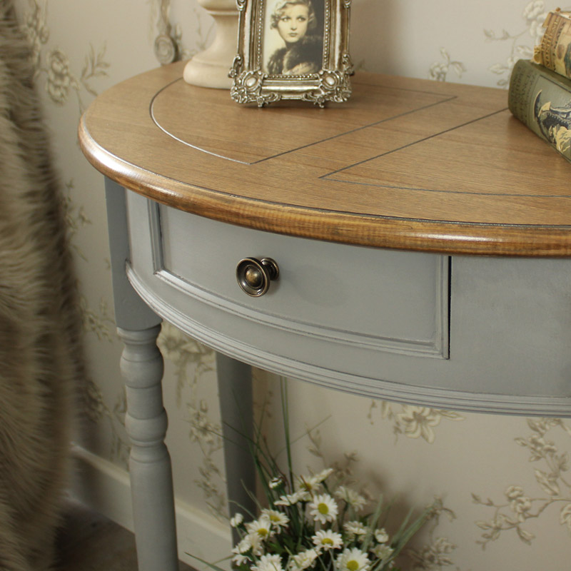 Half Moon Console Table with Drawer and Shelf Admiral Range