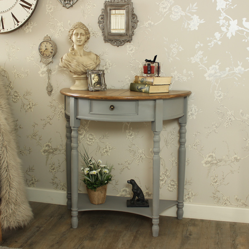 Half Moon Console Table with Drawer and Shelf - Admiral Range