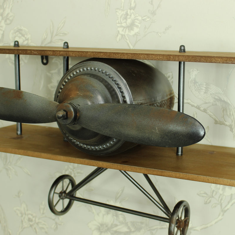 Aeroplane Industrial Wooden Wall Shelf