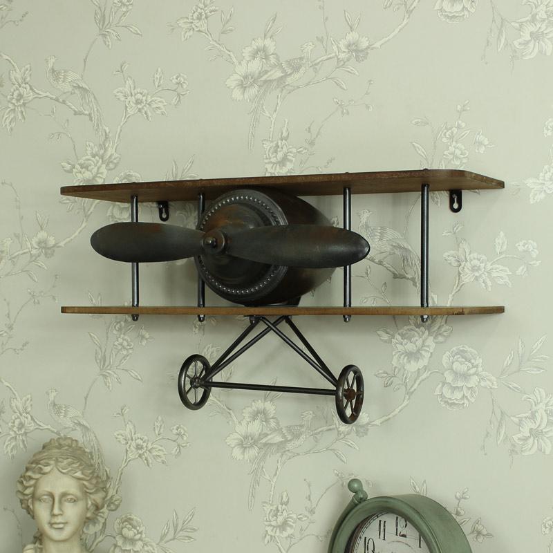 Aeroplane Industrial Wooden Wall Shelf