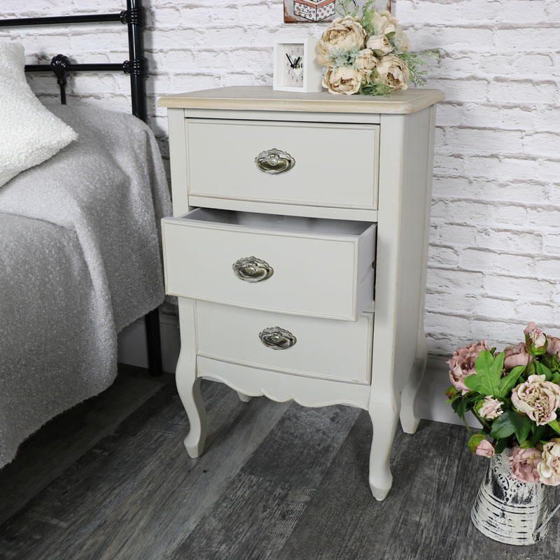 Albi Range- Three Drawer Bedside Table