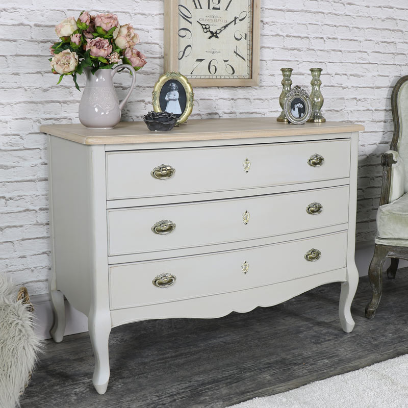 Light Grey Vintage Chest of Drawers - Albi Range