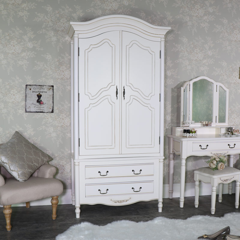 Cream Bedroom Furniture, Double Wardrobe, Chest of Drawers, Dressing Table Set & Pair of Bedside Tables - Adelise Range