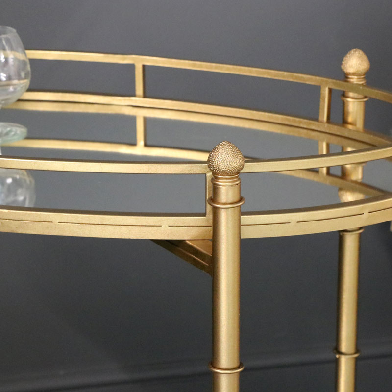 Antique Gold 2 Tier Mirrored  Drinks Serving Trolley