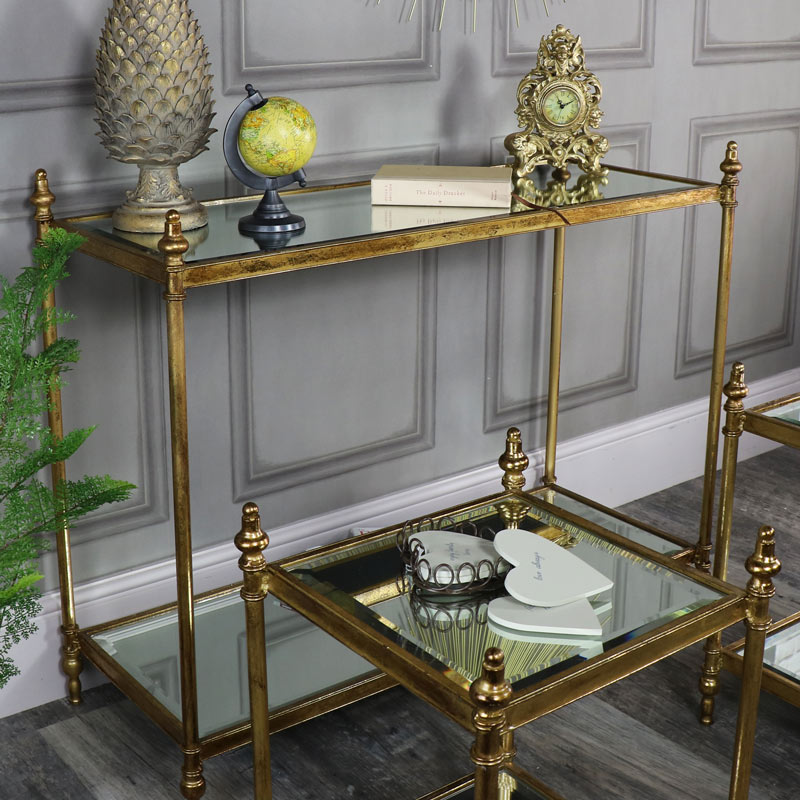 Genial ... Antique Gold Mirrored Console Table With 2 Side Tables ...