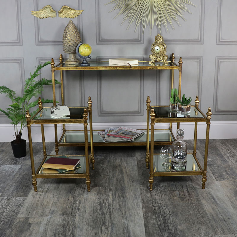 Antique Gold Mirrored Console Table with 2 Side Tables