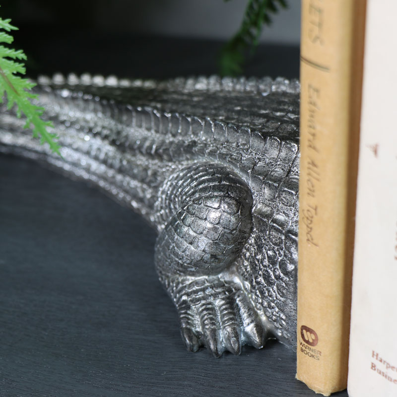 Antique Silver Crocodile Bookends