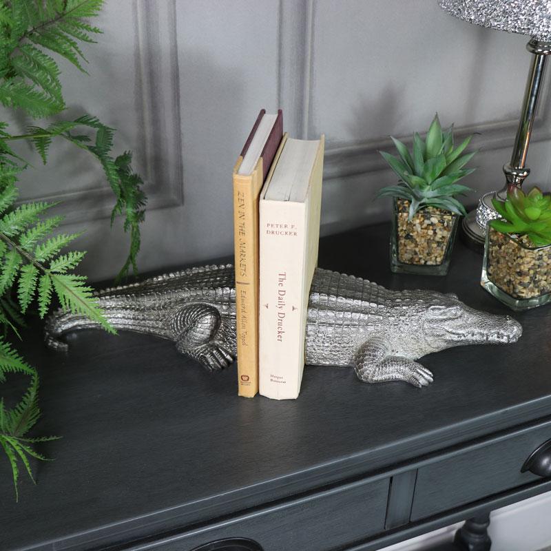 Antique Silver Crocodile Bookends