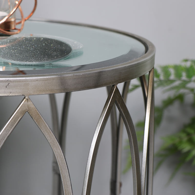 Antique Silver Mirrored Side Table with Copper Stud