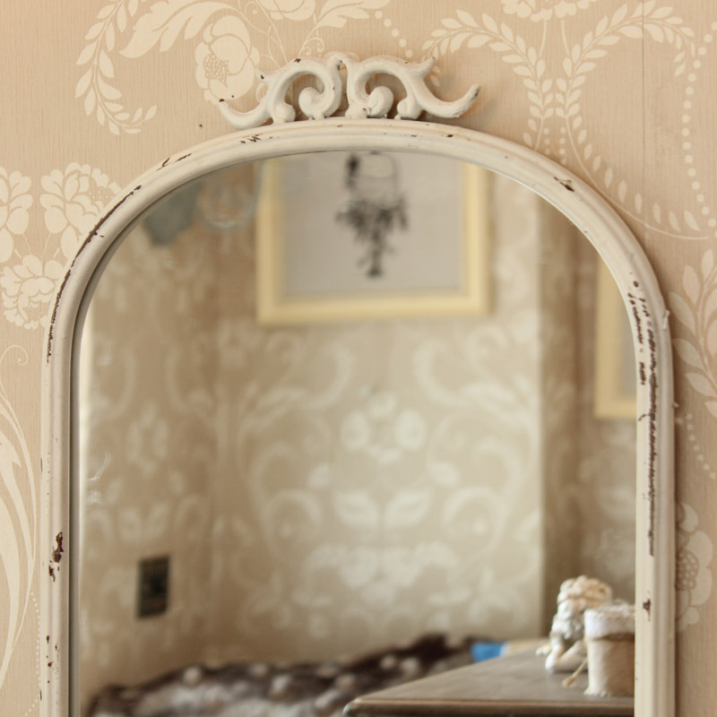 Antique style mirror with shelf distressed metal scroll for Old style mirror