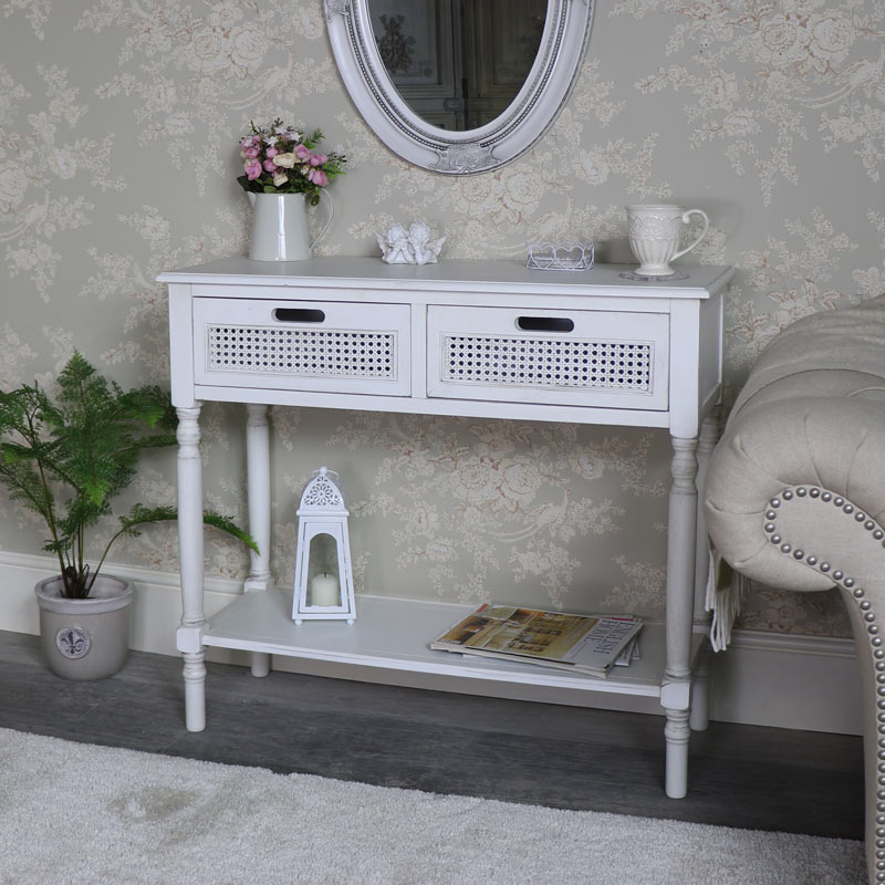 Antique White 2 Drawer Console Table – Mia Range