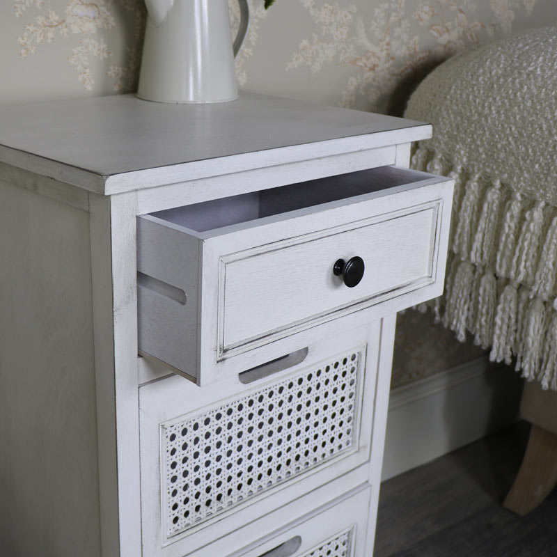 Antique White 3 Drawer Bedside/Storage Chest – Mia Range