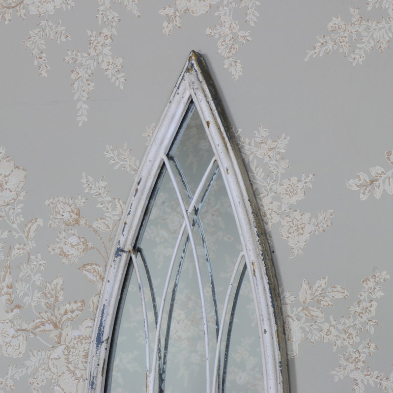 Antique White Arched Wall Mirror