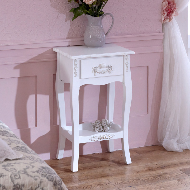 Pays Blanc Range - Antique White Bedside Table