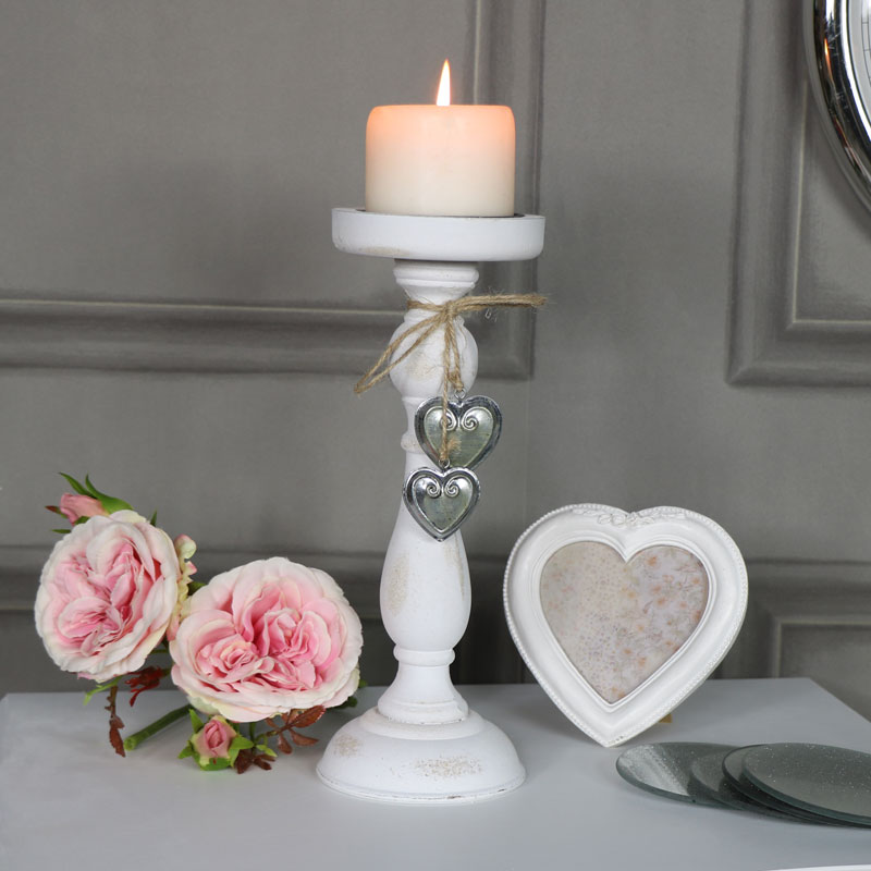 Antique White Candle Holder