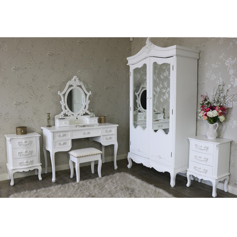 Antique White Double Wardrobe, Dressing Table Set and Pair of 3 ...