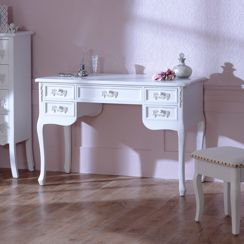'Pays Blanc' Large 5 drawer antique white dressing table / writing desk distressed computer