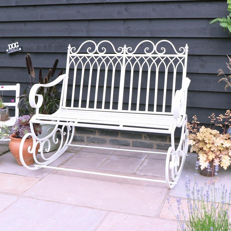 Antique White Garden Rocking Bench