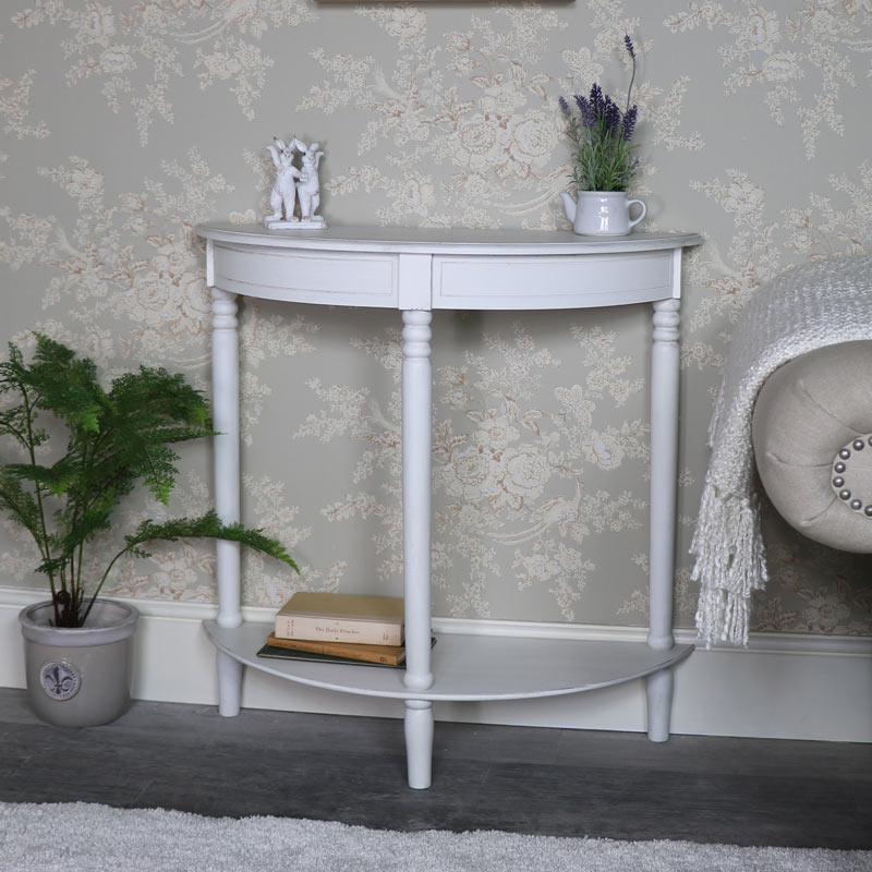 Ordinaire Antique White Half Moon Console Table U2013 Mia Range ...