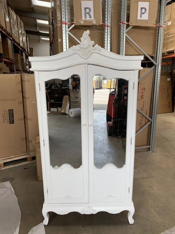 Antique White Mirrored Double Wardrobe - Pays Blanc Range DAMAGED SECOND ITEM 3000