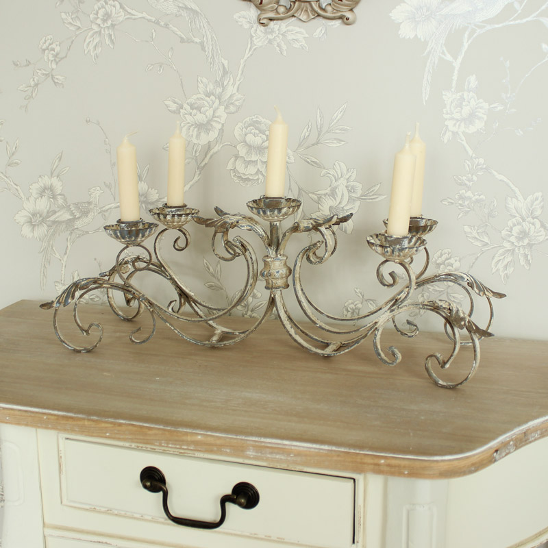 Antique White Ornate Candelabra