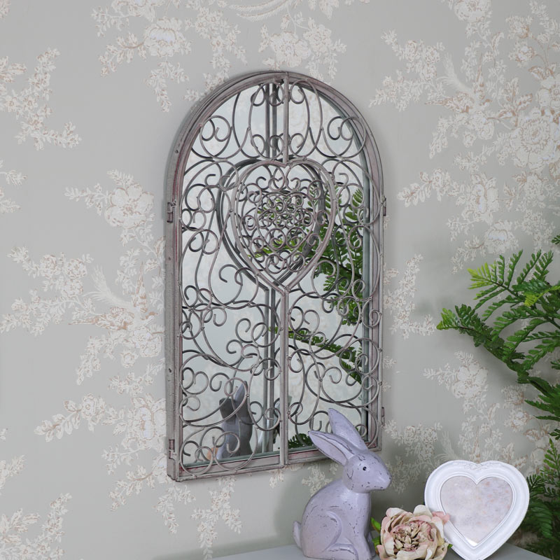 Antique White Ornate Shutter Style Wall Mirror 32cm x 50cm