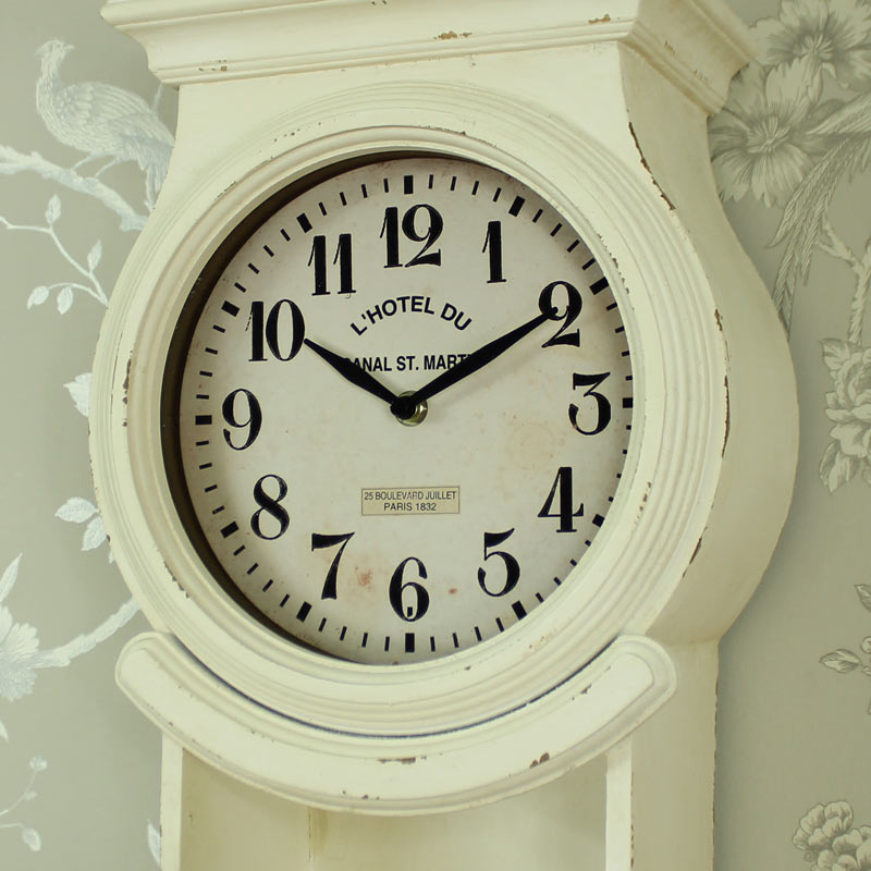 Antique White Ornate Wall Mounted Grandfather Clock With