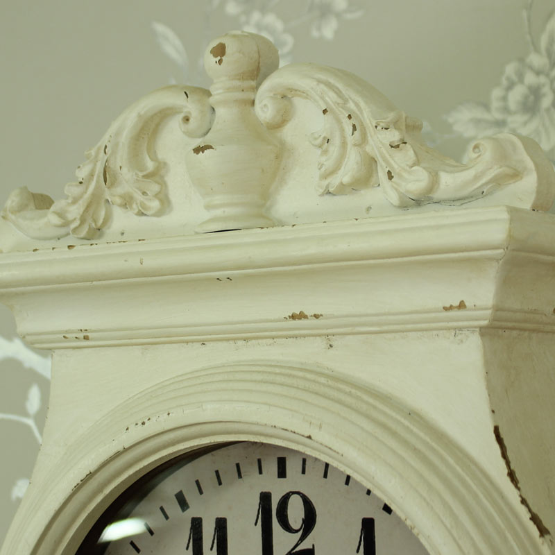 Antique white ornate wall mounted grandfather clock with shelves melody maison - Wall mounted grandfather clock ...