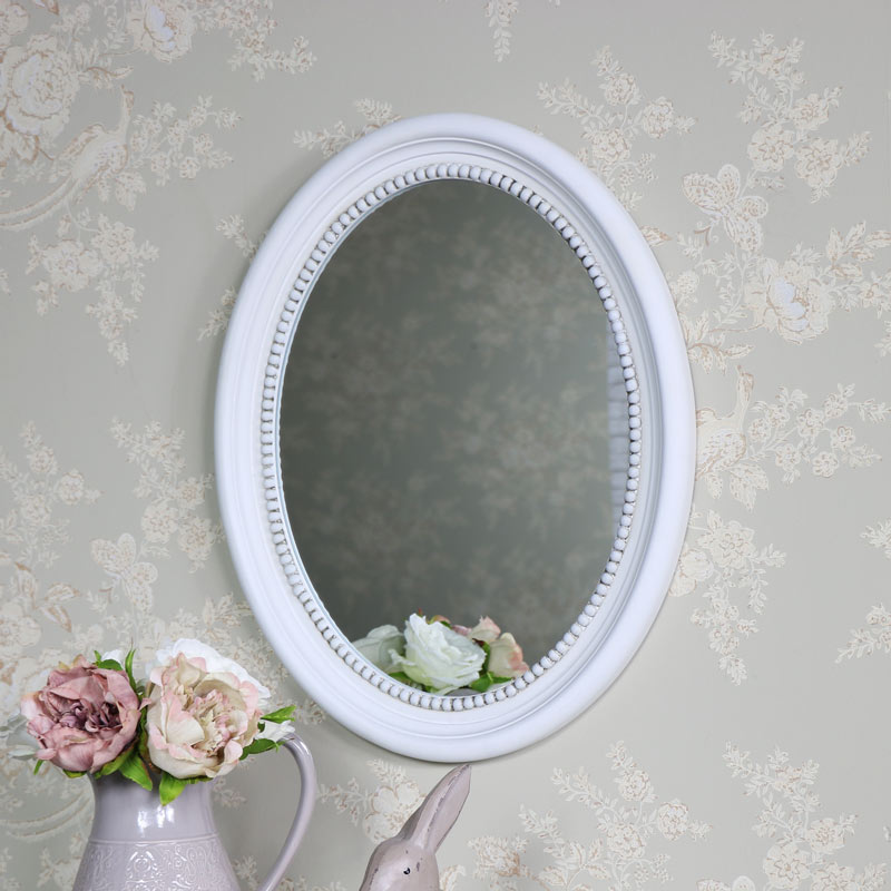 Antique White Oval Wall Mirror 40cm X 49 5cm Melody Maison