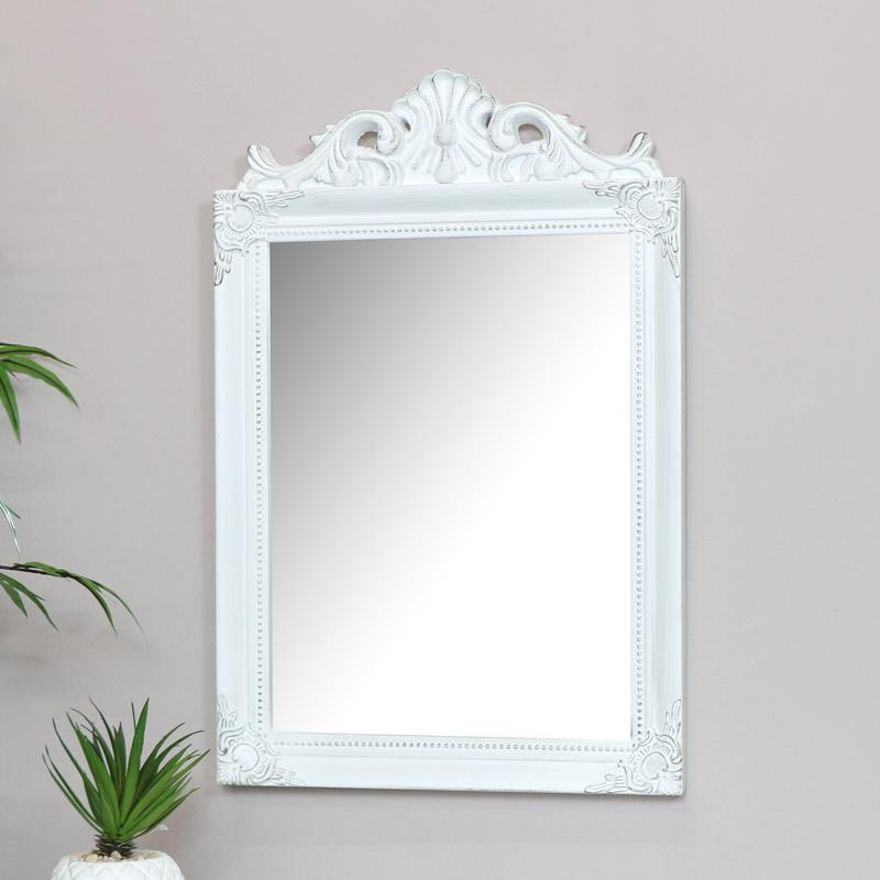 Antique White Wall Mirror 36cm X 55cm Melody Maison