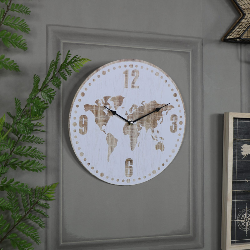 Antique white world map clock melody maison antique white world map clock gumiabroncs Choice Image