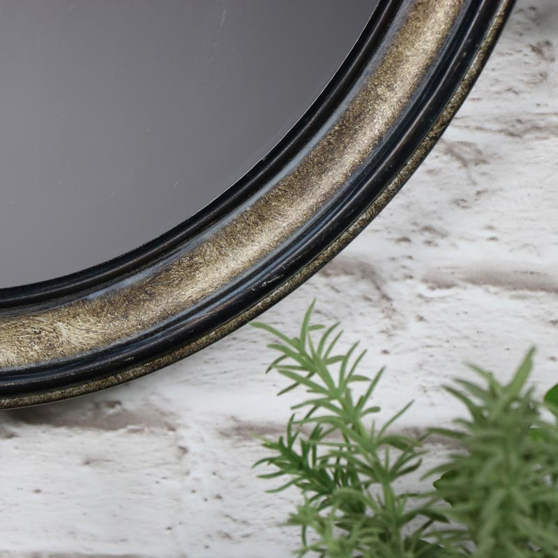 Antiqued Silver Oval Wall Mirror with Rope Hanger 42cm x 50cm