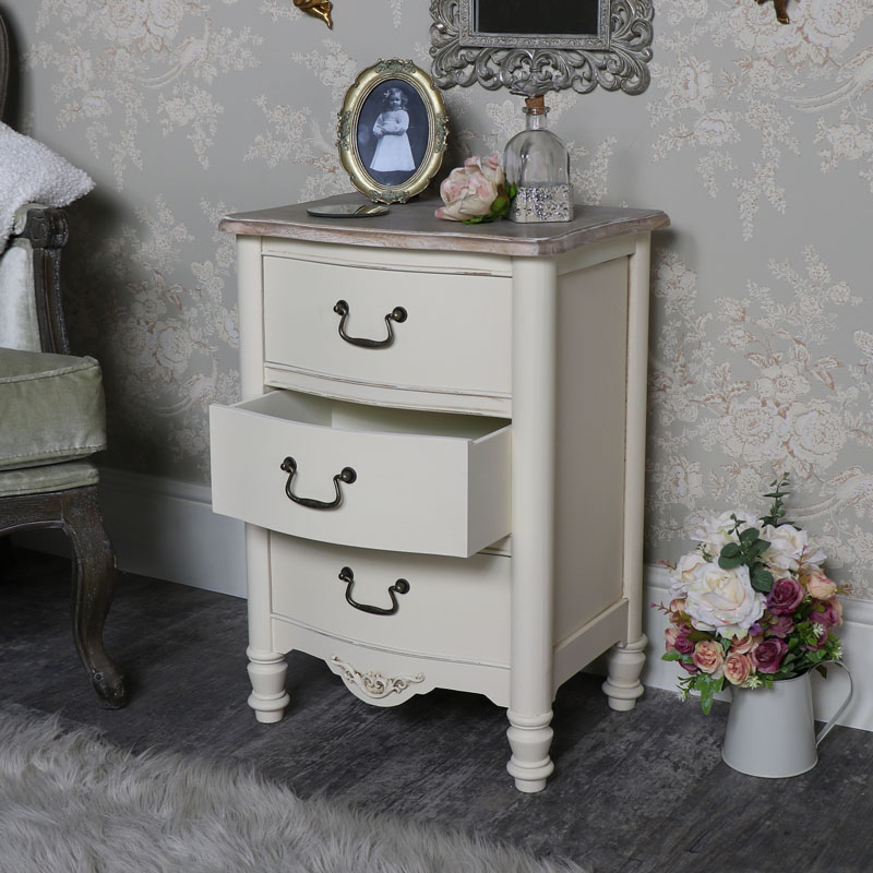 Antoinette Range - Bedroom Set, Pair of Cream Three Drawer Bedside Chests