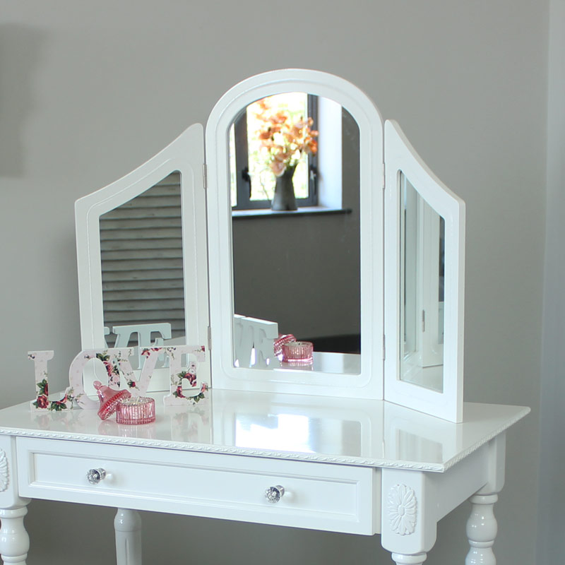 Arabella Range - White Dressing Table with Triple mirror and Stool