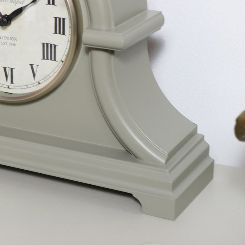 Arched Grey Mantel Clock