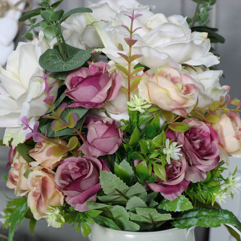Artificial Rose Arrangement in Cream Jug