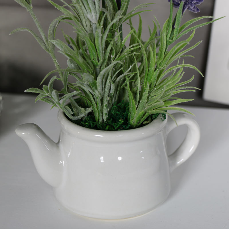 Artificial Lavender in White Teapot Holder