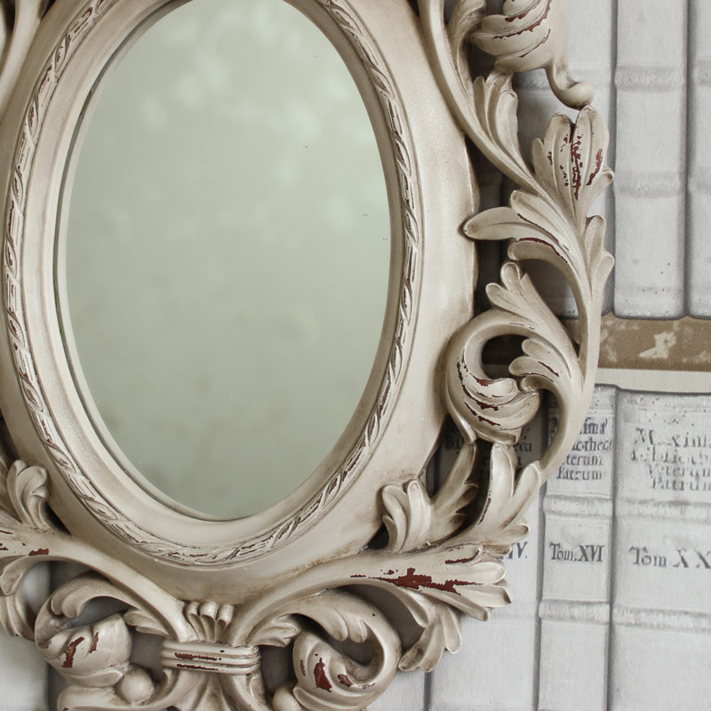 Baroque Ivory Stag Head Wall Mirror