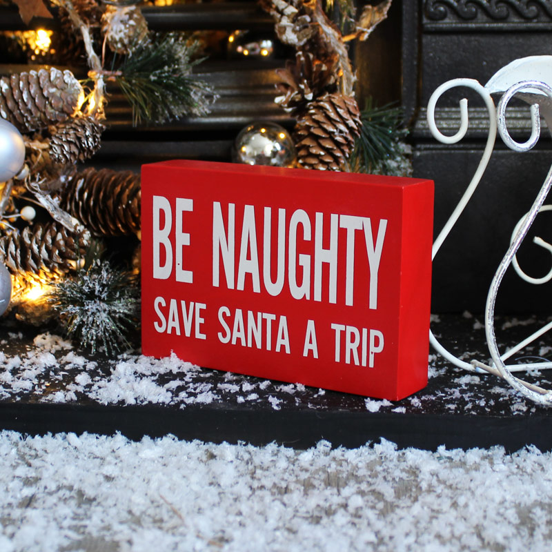 'Be Naughty' Christmas Wall Plaque