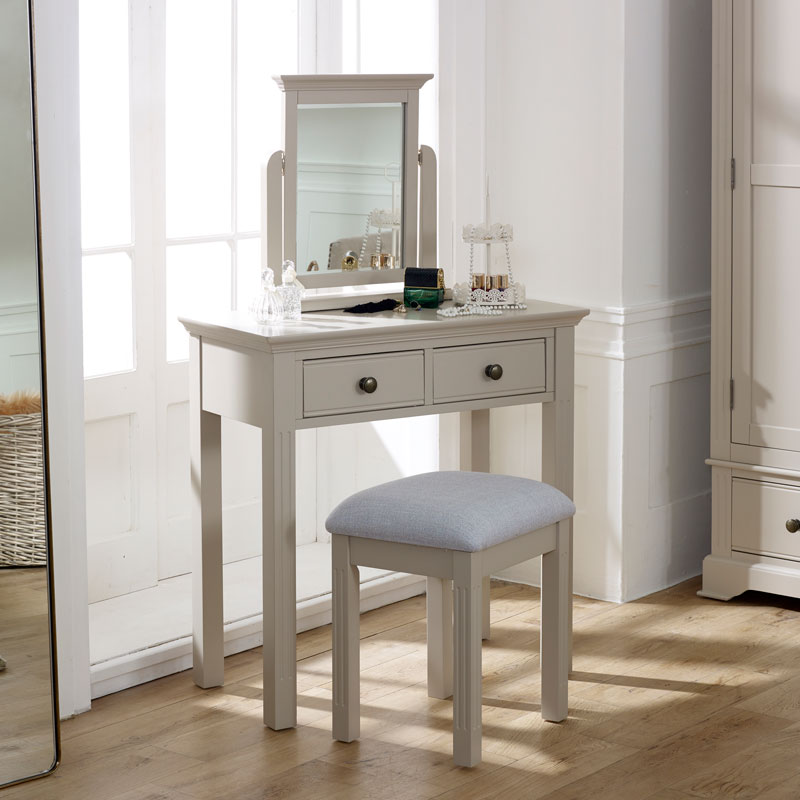 Bedroom Furniture, Chest of Drawers, Dressing Table Set & Pair of Bedside Tables - Davenport Taupe-Grey Range