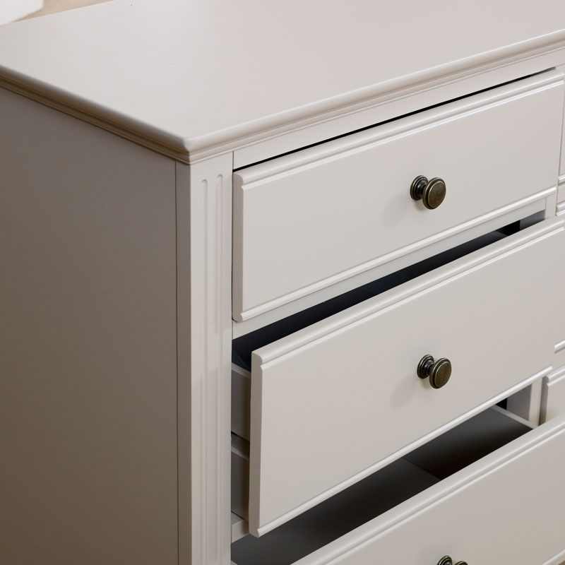 Bedroom Furniture, Large Chest of Drawers, Dressing Table Set & Pair of Bedside Tables - Daventry Taupe-Grey Range