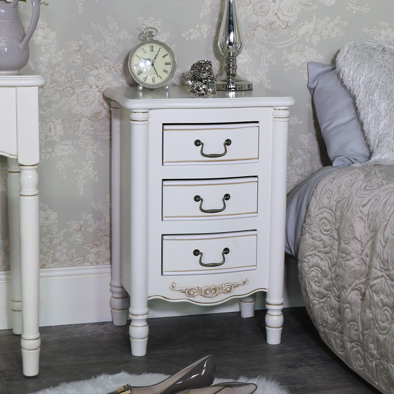 Cream Bedroom Set, Dressing Table Set, Chest Of Drawers and Pair of Bedside Tables - Adelise Range