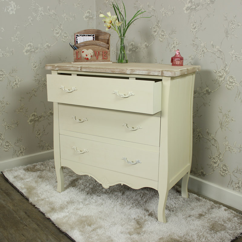 Cream painted 3 drawer chest shabby french chic ornate - Ornate bedroom furniture ...
