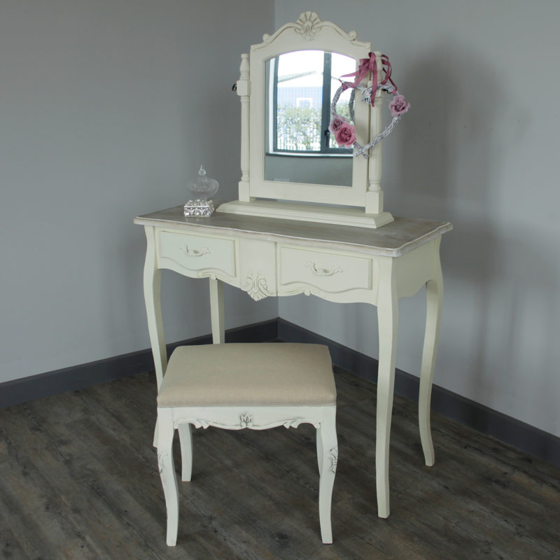 Cream wooden dressing table set mirror stool shabby french chic vanity bedroom ebay - Stool for vanity table ...