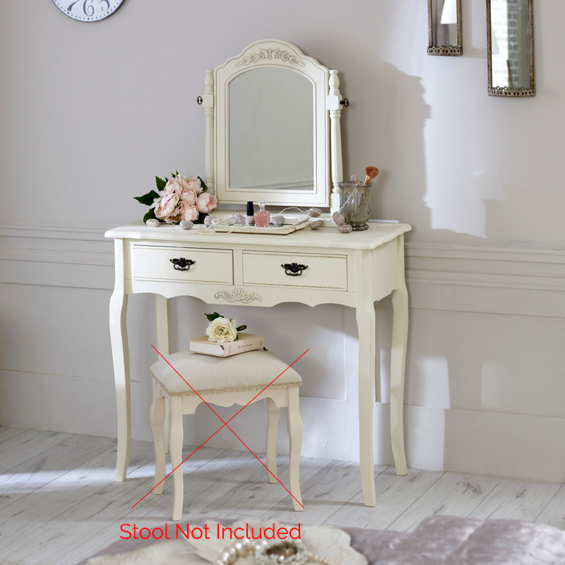 Cream wood dressing table mirror set shabby french chic for 90cm dressing table