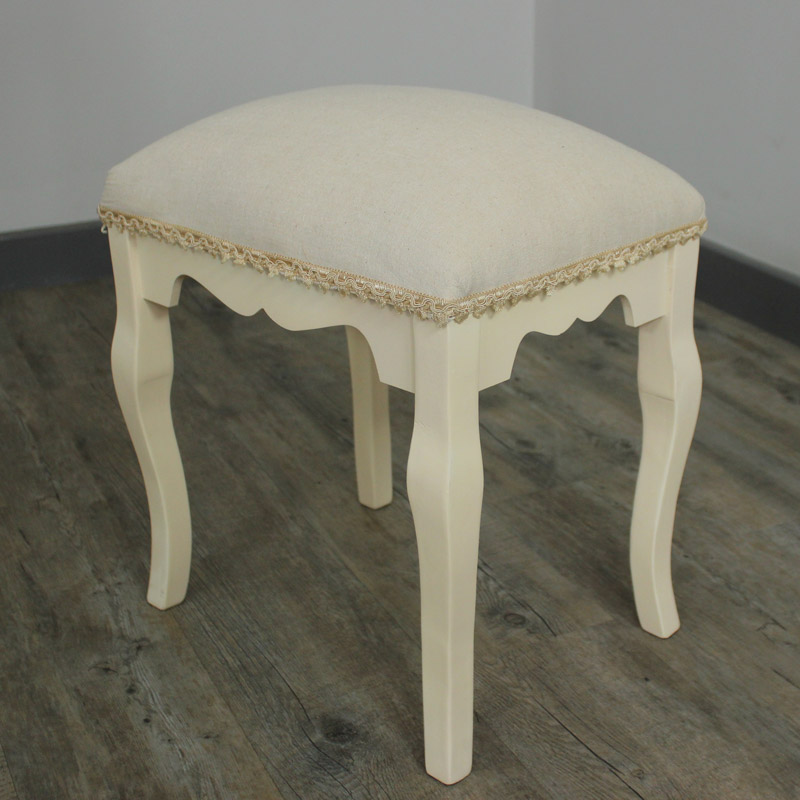 Belgravia Range - Cream Fabric Padded Stool